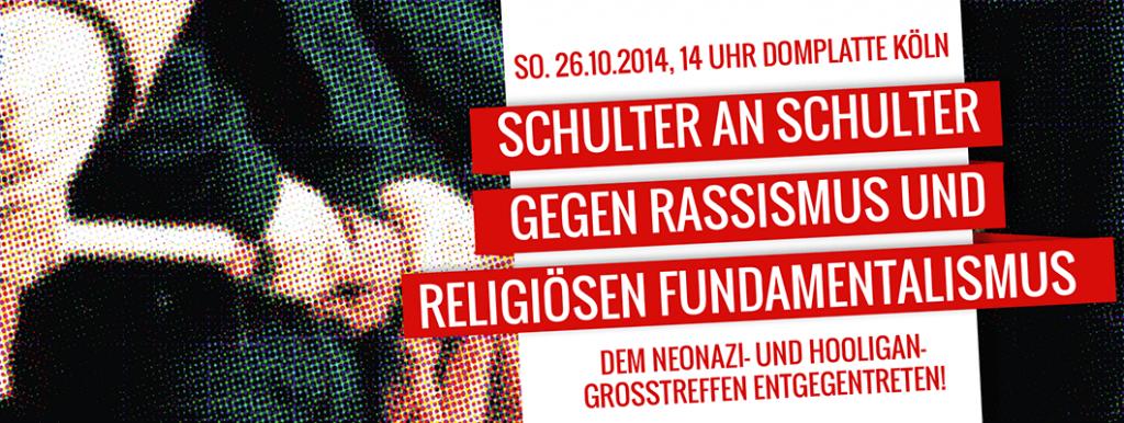 Banner Schulter an Schulter gegen Rassismus und religiösen Fundamentalismus