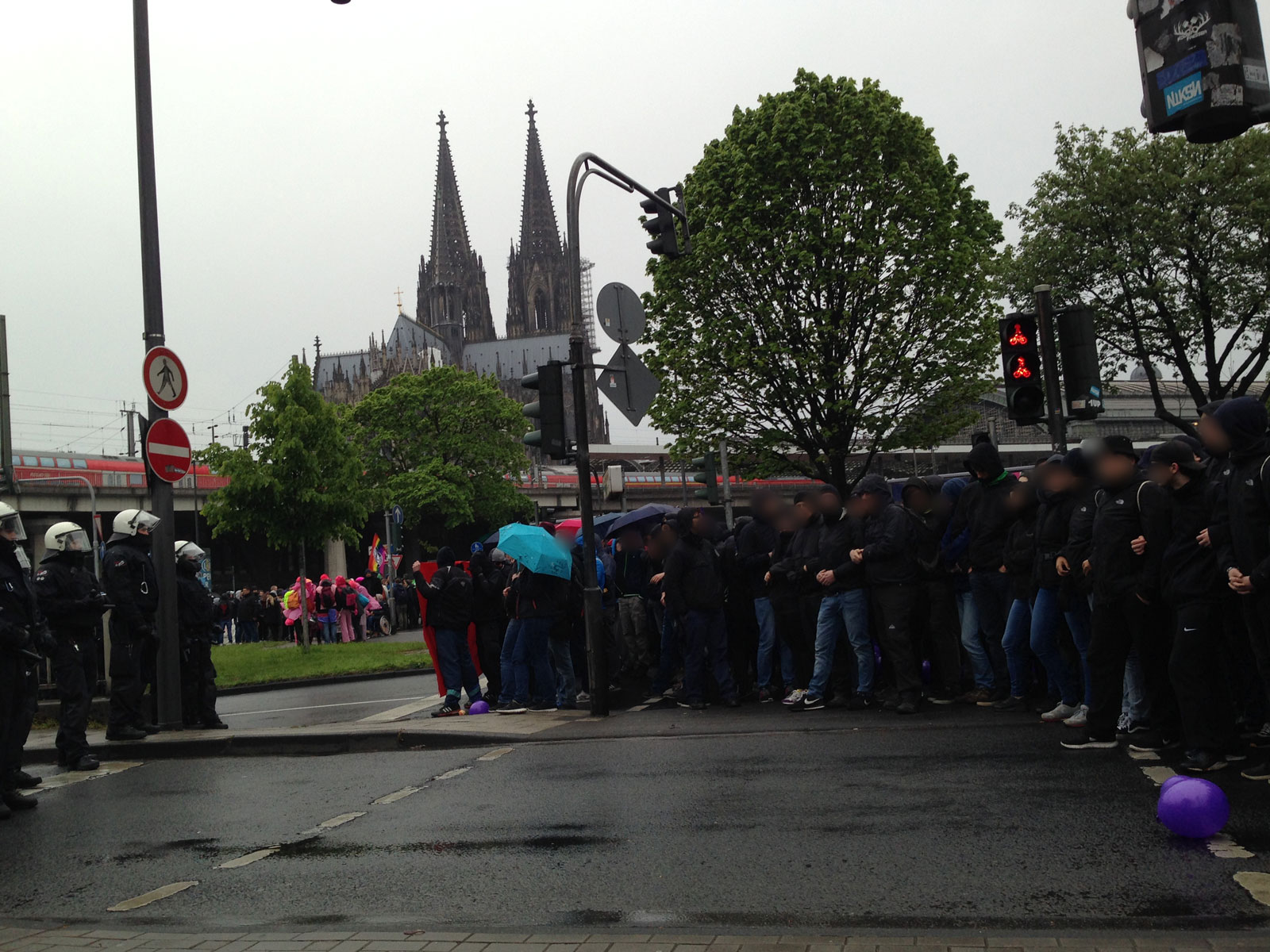 Blockade am Musical Dome