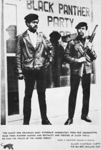 Ausschnitt aus der Zeitung der Black Panther mit Huey P Newton und Bobby Seale