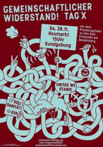 """Plakat der Demo """"Gemeinschaftlicher Widerstand!"""" am 28.11. in Köln Heumarkt"""